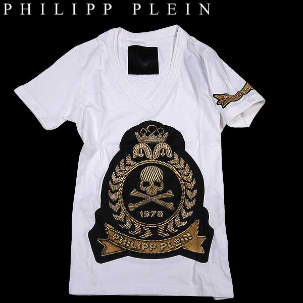 【送料無料】 フィリッププレイン(PHILIPP PLEIN) メンズ Vネック スカル ラインストーン 半袖 Tシャツ thoughts HM346114 01 【smtb-tk】 15S
