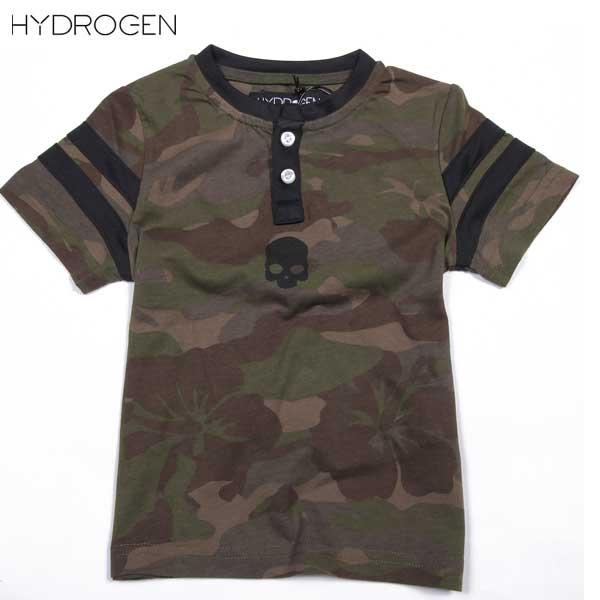 ハイドロゲン HYDROGEN キッズ 子ども こども 子供 ヘンリーネック 半袖 Tシャツ 162601 901 15S