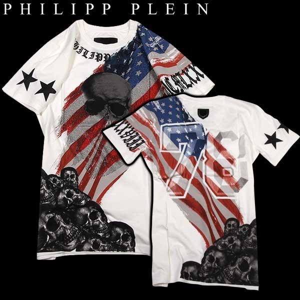 【送料無料】 フィリッププレイン(PHILIPP PLEIN) メンズ スカル ラインストーン 半袖 Tシャツ hey you HM345952 01 【smtb-tk】 15S