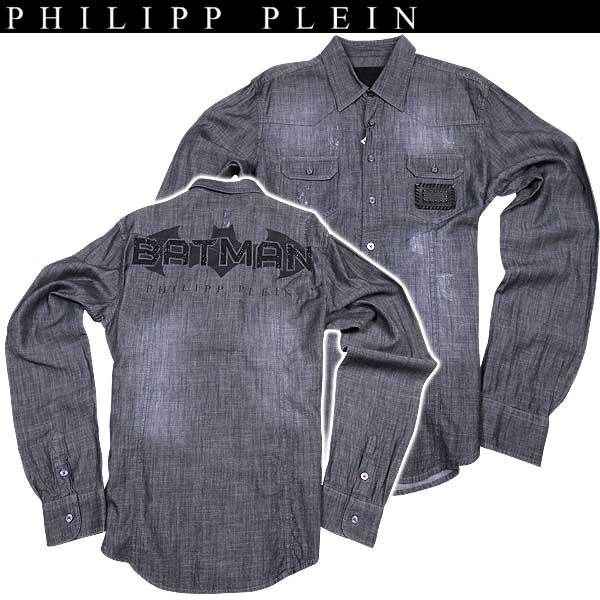 【送料無料】 フィリッププレイン(PHILIPP PLEIN) メンズ バットマン ダンガリーシャツ WM13 HM330023 denim shirt