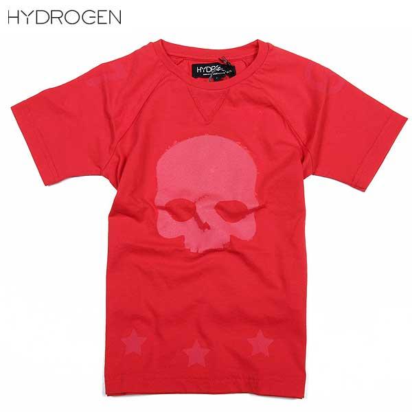 ハイドロゲン HYDROGEN キッズ  こども 子ども 子供 スカル 半袖 Tシャツ 赤 アカ レッド 162002 002 DB15S