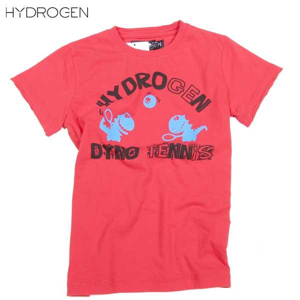 ハイドロゲン HYDROGEN 子供 子ども こども キッズ  怪獣 恐竜 テニス ラケット ザウルス クルーネック 半袖 Tシャツ 赤 レッド RED 162608 002 DB15S