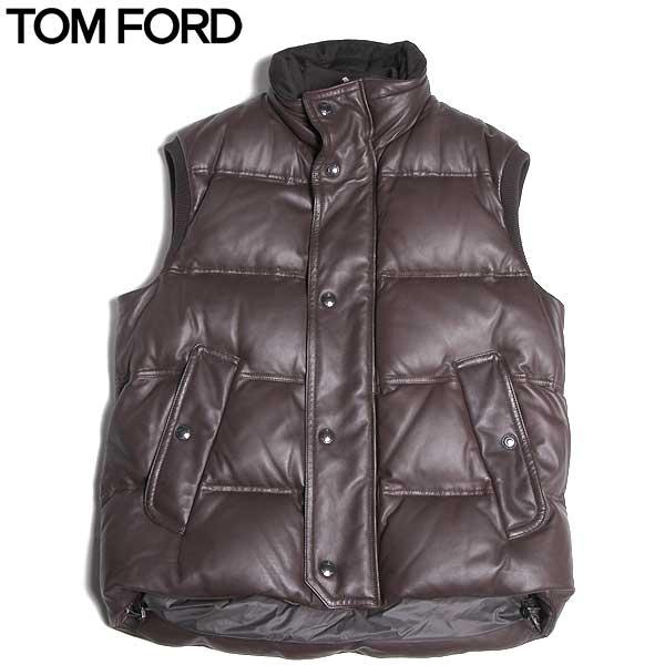 トムフォード TOM FORD メンズ レザー ダウン ベスト TF NO/33 BROWN 15A【送料無料】【smtb-TK】