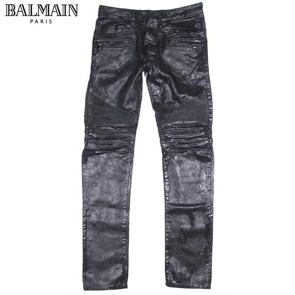 【送料無料】 バルマン(BALMAIN) メンズ バイカーズ デニム ジーンズ オイルコーティング W5HT503 D209 176 15A