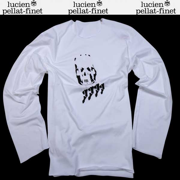 【送料無料】 ルシアンペラフィネ(lucien pellat-finet) メンズ スカル ロングTシャツ 長袖カットソー EVH1824 WHITE 【smtb-tk】 61S