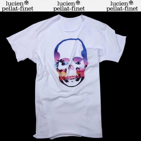【送料無料】 ルシアンペラフィネ(lucien pellat-finet) メンズ 半袖 Tシャツ EVH1759 WHITE/MIAMI SUNSET PRINT 【smtb-tk】 61S