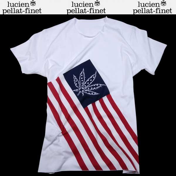 【送料無料】 ルシアンペラフィネ(lucien pellat-finet) メンズ ヘンプ リーフ 半袖 Tシャツ EVH1807 WHITE 【smtb-tk】 61S