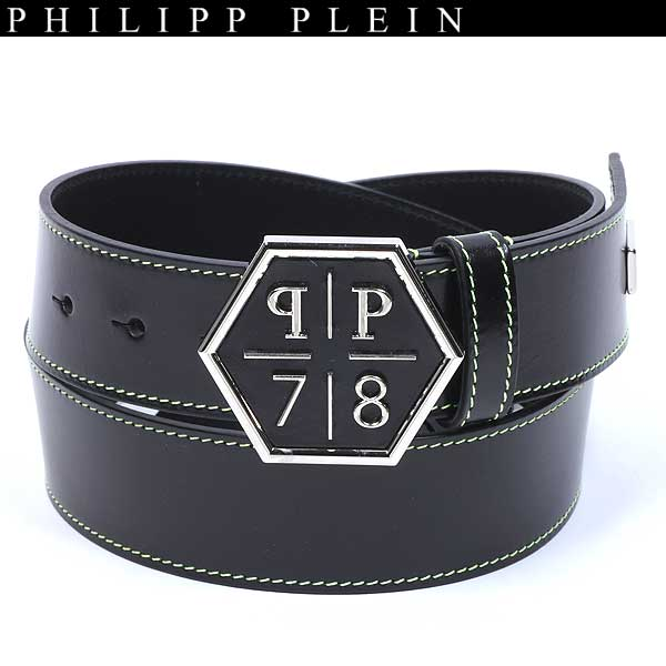【送料無料】 フィリッププレイン(PHILIPP PLEIN) メンズ レザーベルト AM771822 BLACK 【smtb-tk】 61S