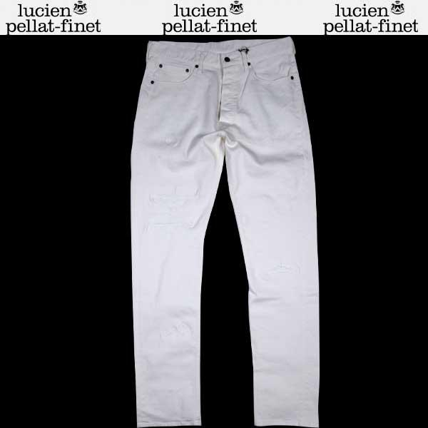 【送料無料】 ルシアンペラフィネ(lucien pellat-finet) メンズ コットンホワイトパンツ デニム DE87H WHITE 【smtb-tk】 61S