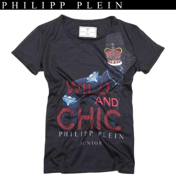 フィリッププレイン PHILIPP PLEIN レディース ラインストーン 半袖 Tシャツ WM13 KG340008 02Black WA13A (R39800)【送料無料】【smtb-TK】