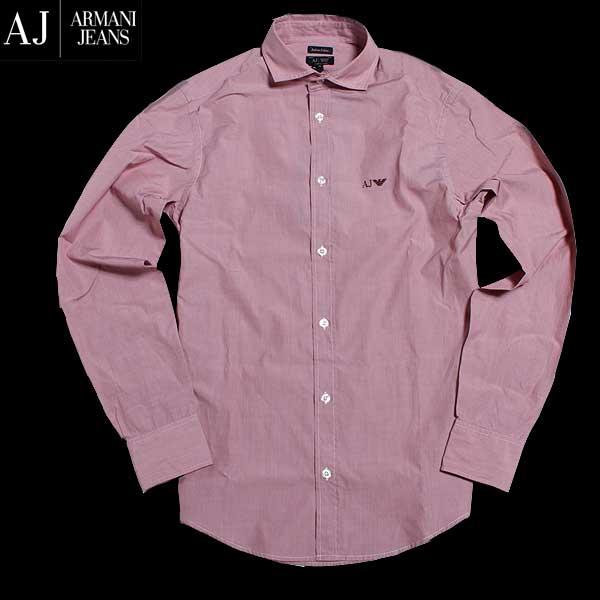 アルマーニジーンズ ARMANI-JEANS メンズ コットンシャツ 胸にワンポイントのイーグル刺繍入り ピンク系 淡いエンジ系 8N6C74 6N04Z 0491 61A (R23760) 【送料無料】【smtb-TK】