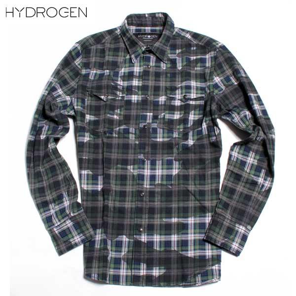 【送料無料】 ハイドロゲン(HYDROGEN)メンズ ミリタリー チェック シャツ 190518 307 【smtb-TK】 【SALE1609】 DB61A