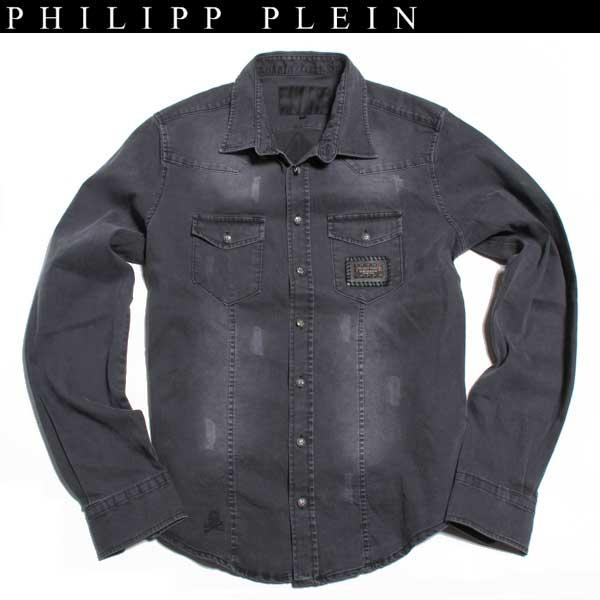 【送料無料】フィリッププレイン(PHILIPP PLEIN)メンズ タンガリーシャツ HM8505 10 【smtb-TK】 13S