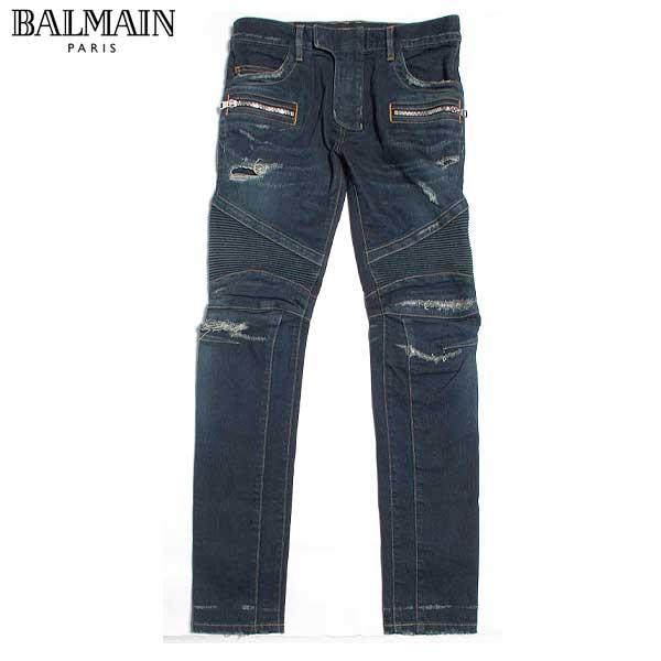 【送料無料】 バルマン(BALMAIN)メンズ バイカーズジーンズ ボトムス ダメージ W6HD572 D204D 155 【smtb-TK】 61A