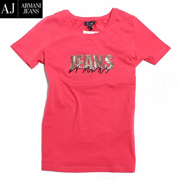 アルマーニジーンズ ARMANI-JEANS レディース 半袖 Tシャツ スパンコール 赤 レッド ゴールド 金色ロゴ(色違い黒有り) 6X5T01 5J00Z 1400 61A (R16200) 【送料無料】【smtb-TK】