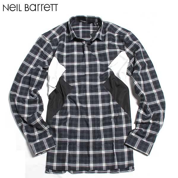 【送料無料】 ニールバレット (NeilBarrett) メンズ コットンチェックシャツ BCM622CV B149C 1424 【smtb-TK】 61A