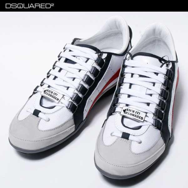 ディースクエアード DSQUARED2 メンズ スニーカー 靴 白ホワイト 赤ライン S17SN434 715 M556 71S【送料無料】【smtb-TK】