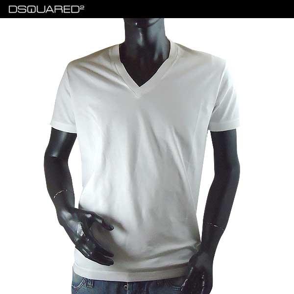 【送料無料】 ディースクエアード(DSQUARED2)メンズ Vネック 半袖 Tシャツ 白 S74GD0241 S22427 100 【smtb-TK】 71S