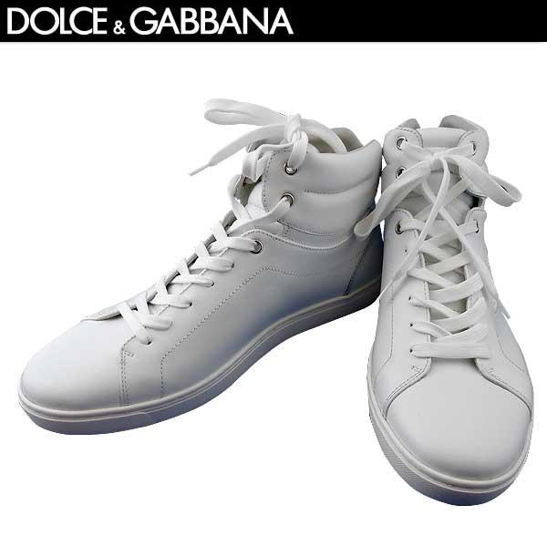 ドルチェ&ガッバーナ DOLCE&GABBANA メンズ レザー ハイカット スニーカー 靴 CS1402 A3444 80001 BIANCO 71S (R96120)【送料無料】【smtb-TK】