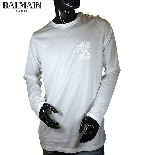 バルマン BALMAIN メンズ クルーネック 長袖 Tシャツ ロンT S7H8651 1003B 100 71S【送料無料】【smtb-TK】