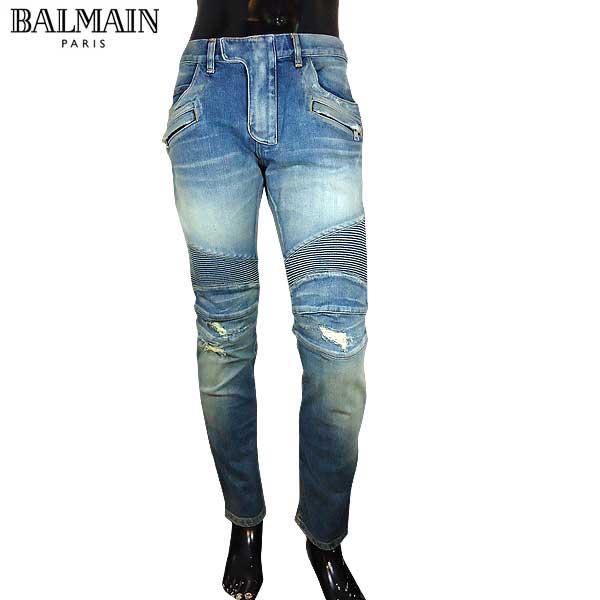バルマン BALMAIN メンズ ライダースパンツ スキニー ジーンズ POHT551 C710V 155 71S【送料無料】【smtb-TK】
