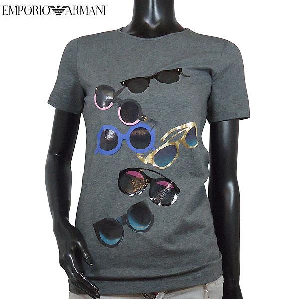 エンポリオアルマーニ EMPORIO-ARMANI レディース ラウンドネック  サングラス メガネ 眼鏡 半袖 Tシャツ グレー カットソー 3Y2T7A 2J7SZ 0632 71S (R38880) 【送料無料】【smtb-TK】