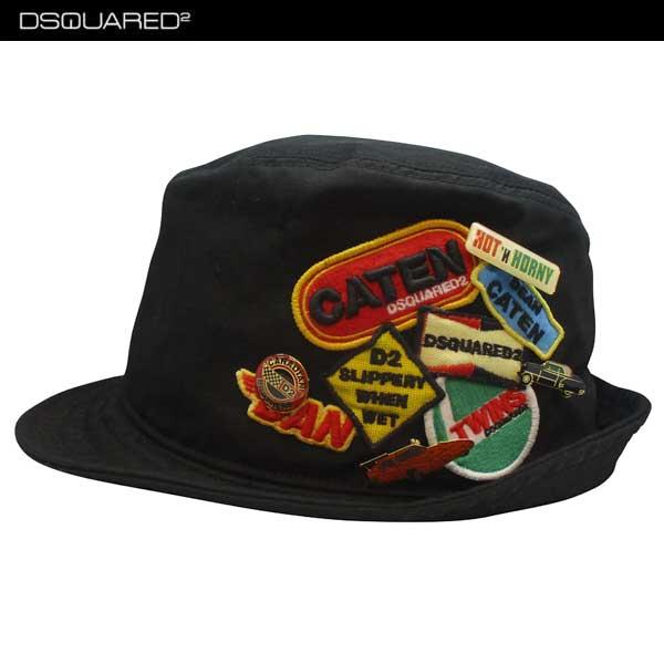 ディースクエアード DSQUARED2 メンズ 帽子 ハット ロゴ マルチロゴワッペン/マルチピン付きハット 黒S17HA4002 08C 2124 71S (R60480)【】【smtb-TK】:ガッツ ブランドショップ