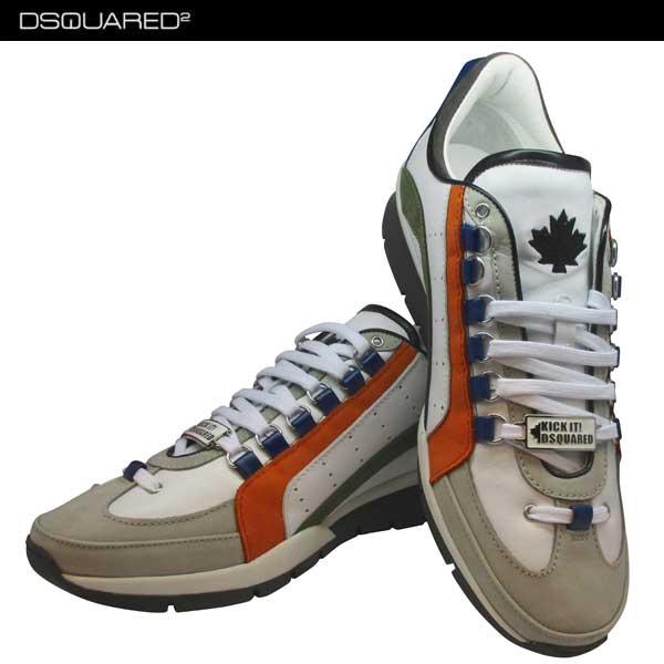 ディースクエアード DSQUARED2 メンズ スニーカー カジュアル カーキ色ライン入り オレンジ色 白 ホワイト 靴 S17SN404 1110 M1124 71S【送料無料】【smtb-TK】