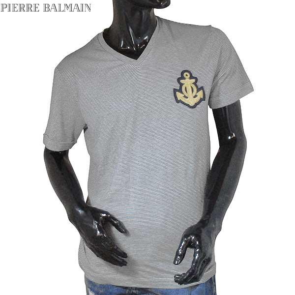 【送料無料】 ピエール・バルマン(Pierre Balmain) メンズ Vネック 半袖 Tシャツ HP66203T A6288 090 【smtb-TK】 71S