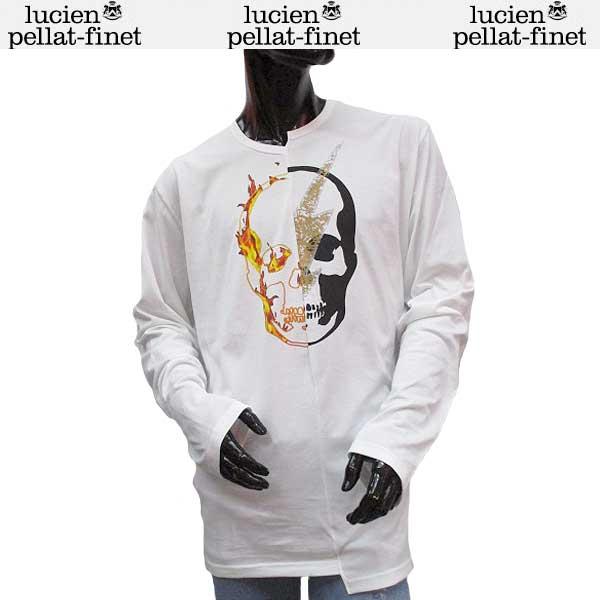 ルシアン ペラフィネ lucien pellat-finet メンズ スカル ロング Tシャツ 長袖 カットソー EVH1932 WHITE 71S【送料無料】【smtb-TK】