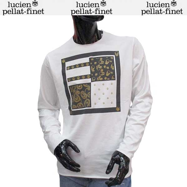 ルシアン ペラフィネ lucien pellat-finet メンズ スカル ロング Tシャツ 長袖 カットソー EVH1899 WHITE 71S【送料無料】【smtb-TK】