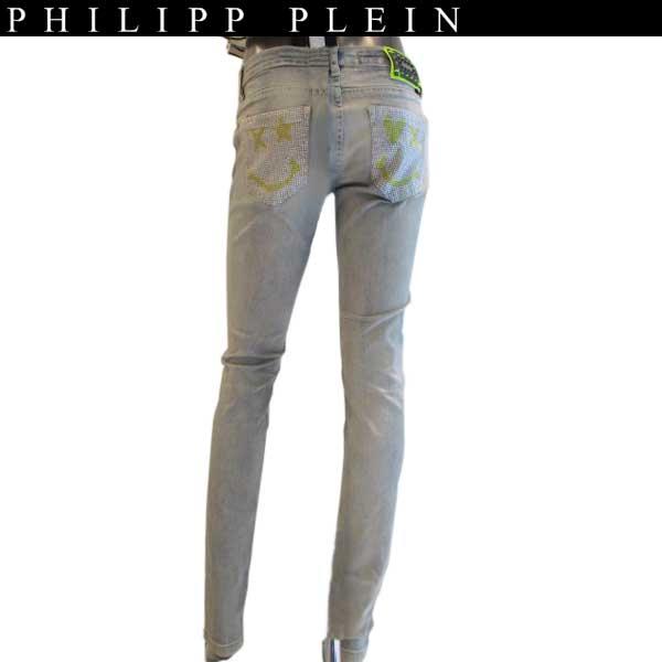 フィリッププレイン PHILIPP PLEIN レディース ラインストーン スマイル ニコニコ ニコちゃん ストレッチスリム ジーンズ デニム ライトグレー? super sexy slimfit