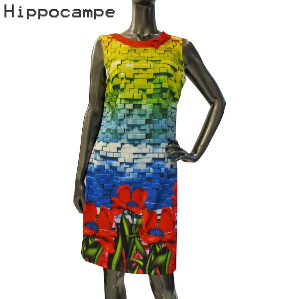 イッポカンプ Hippocampe レディース ノースリーブワンピース S17176-B-HA-48 BLUE 【送料無料】【smtb-TK】