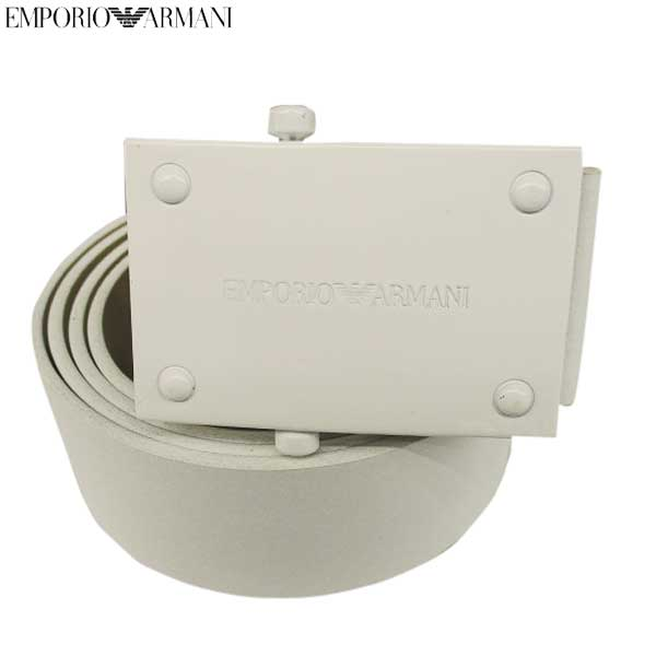 【送料無料】 エンポリオアルマーニ(EMPORIO-ARMANI) メンズ スライドバックル ベルト ホワイト YEMH28 YH383 80012 【smtb-tk】 13S