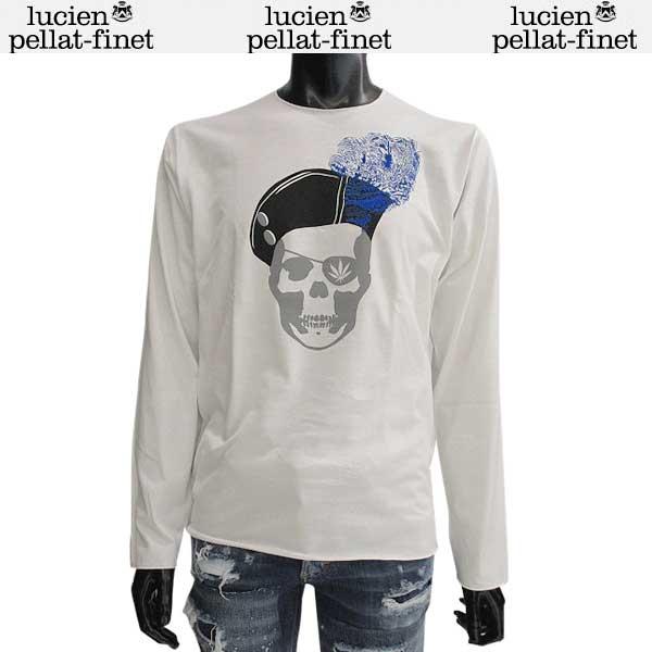 ルシアン ペラフィネ lucien pellat-finet メンズ クルーネック スカル ロング Tシャツ 長袖 カットソー EVH1913 WHITE/BLACK 71S【送料無料】【smtb-TK】
