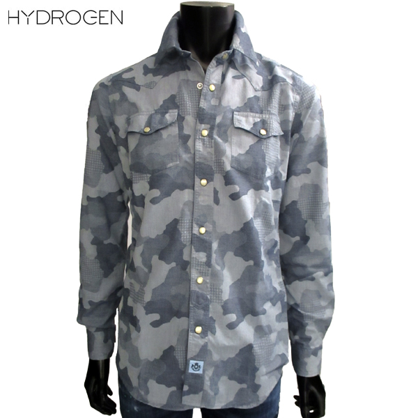 【送料無料】 ハイドロゲン (HYDROGEN) メンズ コットン カジュアルシャツ 210422 A74 【smtb-tk】 71A