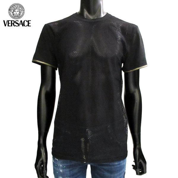 ヴェルサーチ Versace メンズ クルーネック 半袖 Tシャツ アンダーウェア メッシュ AUU06016 AN00165 A008 71A【送料無料】【smtb-TK】