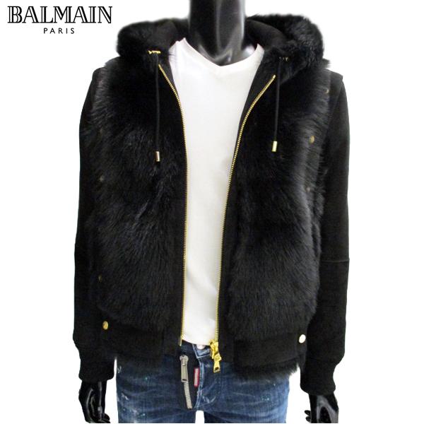 バルマン BALMAIN レディース ユニセックス 羊毛 ムートン ブラック 黒 ジップアップ パーカー アウター 107760 308P C0100 71A (R698000) 【送料無料】【smtb-TK】