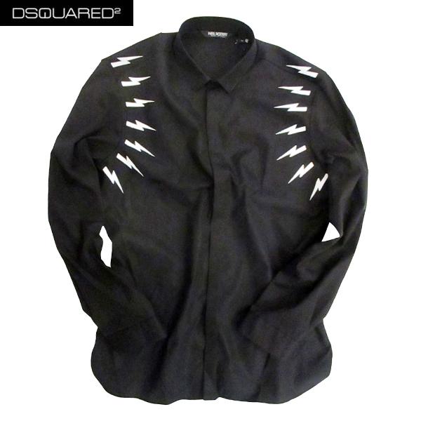 【送料無料】 ニールバレット (NeilBarrett) メンズ コットン ドレスシャツ ワイシャツ ブラック 黒 稲妻 サンダー PBCM833B G021S 524 【smtb-tk】 81S