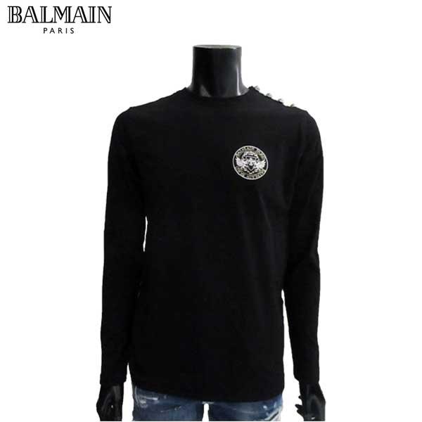 バルマン BALMAIN メンズ Tシャツ 長袖 ロゴ S8H 8651 I155 176 81S【送料無料】【smtb-TK】