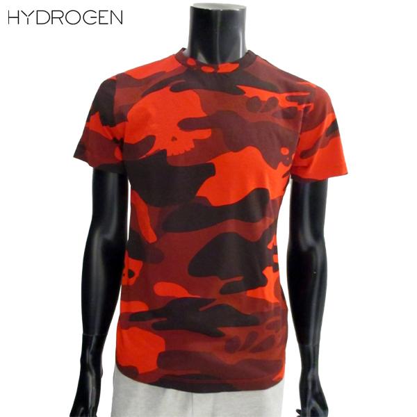 【送料無料】 ハイドロゲン (HYDROGEN) メンズ Tシャツ 半袖 丸首 迷彩 カモフラージュ レッド 220008 B40 【smtb-tk】 81S