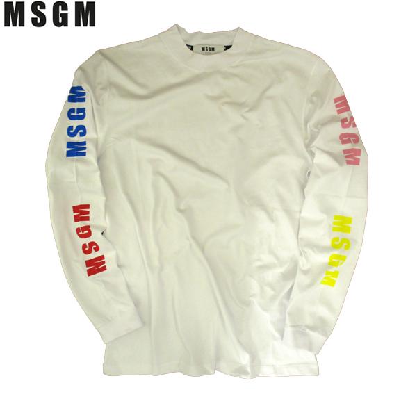 【送料無料】 エムエスジーエム(MSGM) メンズ Tシャツ 長袖 丸首 ロゴ カラフル MM103 299 01 【smtb-tk】 81S