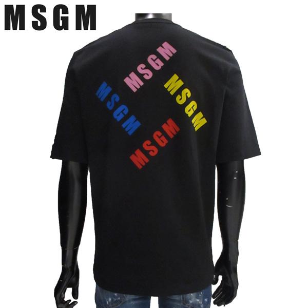 エムエスジーエム MSGM メンズ クルーネック 半袖 Tシャツ バックプリント 黒 ブラック 2440MM71 299 99 81S【送料無料】【smtb-TK】