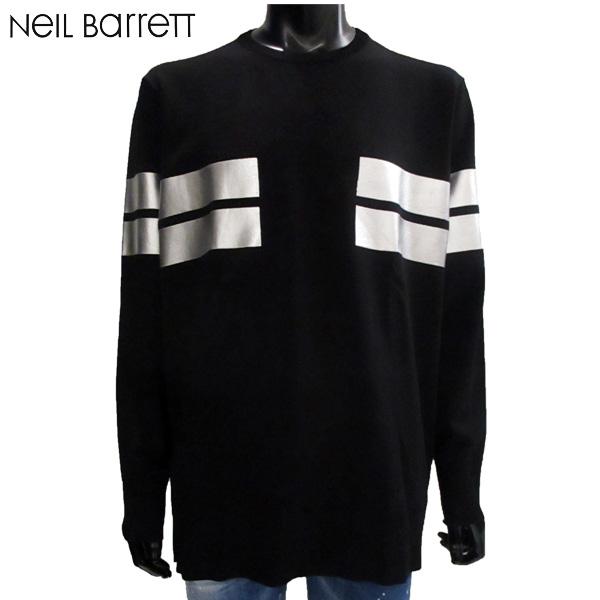 ニールバレット Neil Barrett メンズ 長袖 ロンT プリント シルバー BMA753 G604S 542 BLACK/SILVER 81S (R67000)【送料無料】【smtb-TK】