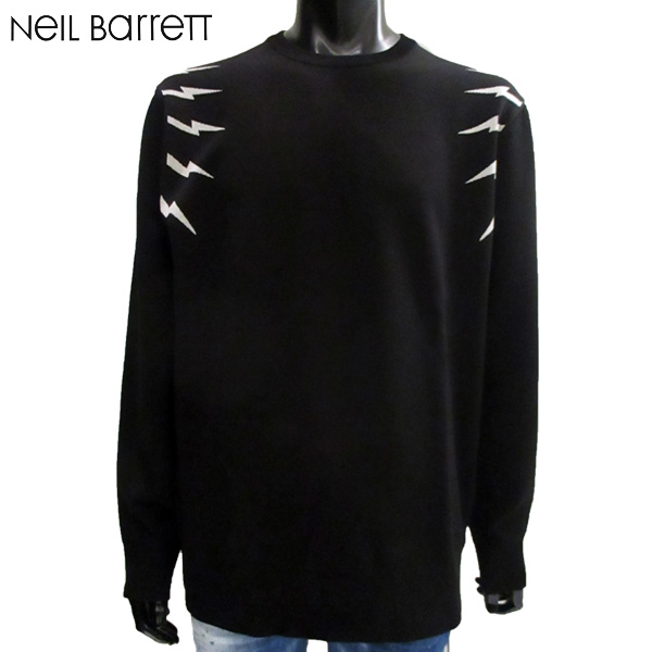 ニールバレット Neil Barrett メンズ 長袖 ロンT プリント ブラック PBMA717 G609C 524 BLACK/WHITE 81S【送料無料】【smtb-TK】