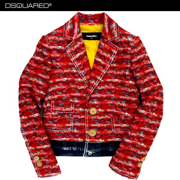ディースクエアード DSQUARED2 レディース アウター ジャケット デニム地切り返し赤刺繍入りジャケット レッド S75BN0557 S48422 001F 81S (R207400)【送料無料】【smtb-TK】
