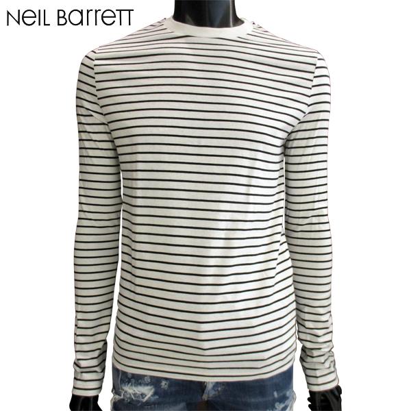 ニールバレット Neil Barrett メンズ Tシャツ 長袖 ロンT ボーダー ホワイト ブラック黒白 BJT387 G507 526 81S (R48700)【送料無料】【smtb-TK】