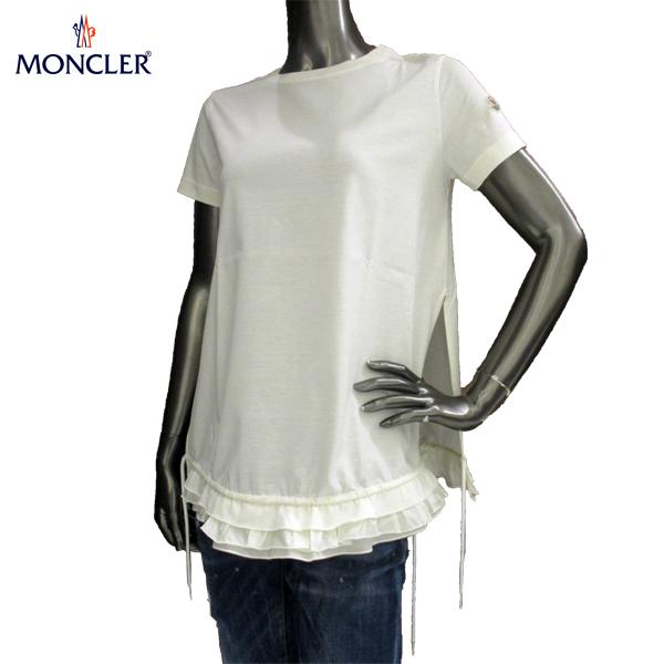 モンクレール MONCLER レディース クルーネック 半袖 Tシャツ 左右スリット 裾レース 8080600 8390X 035 81S (R45900)【送料無料】【smtb-TK】