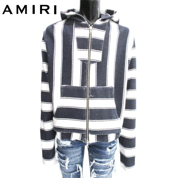 アミリ AMIRI メンズ トップス パーカー フーディ ライン入りジップアップパーカー 白/紺 MKHDZ BAJ 81S (R159900) 【送料無料】【smtb-TK】