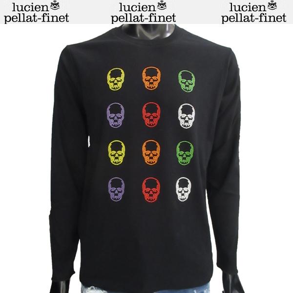 ルシアン ペラフィネ lucien pellat-finet メンズ トップス 長袖 Tシャツ ロンT カラードットスカル入りロングTシャツ ブラック EVU1993 BLACK 81S (R162000)【送料無料】【smtb-TK】